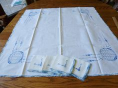 Vintage Embroidered Linen Tablecloth with 4 by vintagelady7