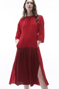 Red and Maroon Chiffon Pleated Midi-Dress for Colovos Resort 2017.