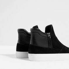 LEATHER HIGH-TOP SNEAKERS WITH ZIP-Ankle boots-SHOES-WOMAN | ZARA United States