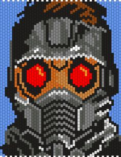 Star Lord From Gaurdians Of The Galaxy Bead Pattern Peyote Beading Patterns, Pony Bead Patterns, Kandi Patterns, Perler Patterns, Loom Beading, Cross Stitch Patterns, Pixel Art Marvel, Marvel Dc, Perler Beads