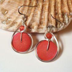 Orange Coconut Shell Earrings Wire Wrapped Jewelry by CoconutJoyJewelry, $27.00 #earrings #jewelry #coconuts http://www.coconutjoyjewelry.com