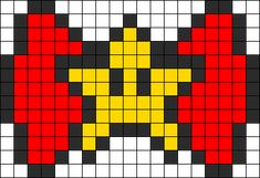 Super Star Bow Perler Bead Pattern / Bead Sprite