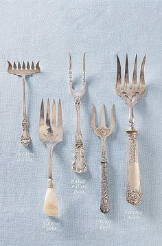Host's Ultimate Guide to Flatware We break down the basics—and the not-so-basics too (pâté server, anyone?)We break down the basics—and the not-so-basics too (pâté server, anyone? Silver Cutlery, Vintage Cutlery, Sterling Silver Flatware, Vintage Dishes, Vintage Silver, Antique Silver, Dining Etiquette, Table Settings, Antiques
