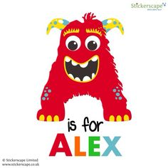 Personalised monster monogram available from Stickerscape