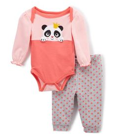 Look at this #zulilyfind! Calypso Coral & Light Gray Panda Bodysuit & Joggers - Infant #zulilyfinds