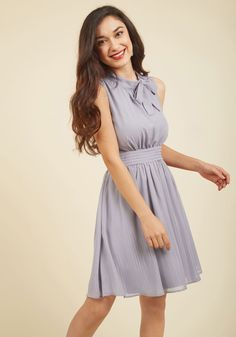 Sunny City A-Line Dress in Moon. Cause a chic scene down the Magnificent Mile in this light grey frock - park of our ModCloth namesake label! #grey #modcloth