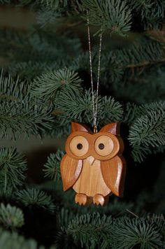 Handmade  OWL ORNAMENT wood Carving