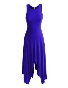 Womens Lightweight Sleeveless Handkerchief Maxi Dress with Stretch