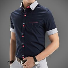 2016 nueva marca para hombre de manga corta para hombres Camisa Casual Slim Fit marca diseño Formal Camisa sociales chemise homme