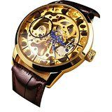 Men Mechanical Skeleton Watch Hand Wind Up Gold Dial Brown Leather Strap Ornate Winner Watches, Skeleton Watches, Luxury Watches For Men, Mechanical Watch, Quartz Watch, Fashion Watches, Watch Bands, Luxury Branding, Black Leather