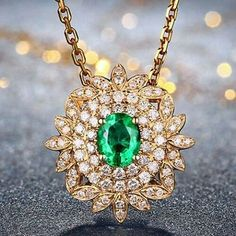 """16 Likes, 3 Comments - Suma Boutique (@sumagemboutique) on Instagram: """"0.83 Carats Natural Emerald with Diamond 18K Solid Yellow Gold Fine Pendant  Main Stone : Stone…"""""""