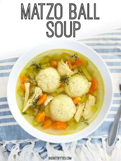 Matzo Ball Soup - Budget Bytes Warm and cozy, Matzo Ball Soup always fills you with warm fuzzies. This version is easy, uncomplicated, and perfect for beginners. Passover Recipes, Jewish Recipes, Passover Meal, Sin Gluten, Gluten Free, Matzo Meal, Balls Recipe, Soup And Salad, Soups And Stews