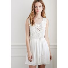 Forever 21 Crochet and Lace Babydoll Dress ($28) ❤ liked on Polyvore