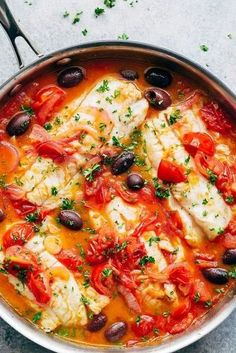 Seared Fish With Tomatoes & Olives is a family favourite and weeknight stapl. - -Pan Seared Fish With Tomatoes & Olives is a family favourite and weeknight stapl. Italian Fish Recipes, Cod Fish Recipes, Seafood Recipes, Cooking Recipes, Healthy Recipes, White Fish Recipes, Baked Cod Recipes, Cod Loin Recipes, Hake Recipes