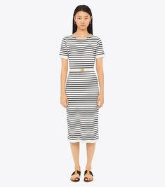 Clothing, Shoes & Accessories Theory Lyerly Guarda Knit Flare A-line Skirt 12 Navy White Striped Stretch Zip Choice Materials Women's Clothing