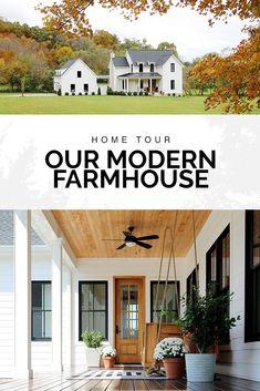 Check out a tour of our modern farmhouse. #farmhouse #hometour #porch #swing #fall