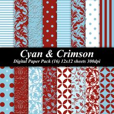 BUY 2 GET 1 FREE - Cyan and Crimson Paper Pack (16) 300 dpi 12x12 scrapbooking invitations red blue. $4.00, via Etsy.
