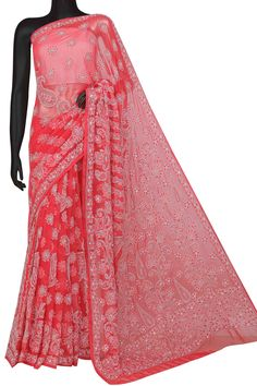 Ada Hand Embroidered Carrot Pink Georgette Lucknowi Chikankari Saree/ Blouse With Pearl/Sequinned Work- A599489 is definitely one of the classiest pieces created at Ada Chikan #Ada #Adachikan #chikankari #handcrafted #saree #georgette #embellished #embellishment #pearl #shoponline #pink