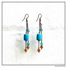 Glass and crystal dangle earrings in aqua and copper, Long beaded chain earring, Blue beaded dangle, Coastal jewelry, Long aqua earrings by JantraK