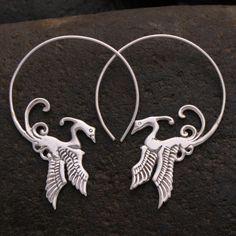 Phoenix Bird Earrings, Bird hoops, solid sterling silver Lovely Phoenix hoop earrings in silver. Light weight and secure on the ear. Feather Earrings, Silver Hoop Earrings, Silver Necklaces, Statement Earrings, Silver Rings, Boho Jewelry, Jewelry Gifts, Unique Jewelry, Jewelry Shop