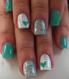 May 7 2020 - 50 Gorgeous Spring Nail Art Designs Ideas You Must Try Teal Nails, Glitter Gel Nails, Cute Acrylic Nails, Teal Nail Art, Blue Nail, Green Nails, Nail Polish Designs, Acrylic Nail Designs, Nail Art Designs