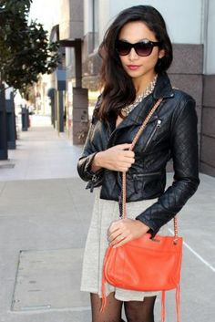 """As I was looking through these pictures I realized that my look was a bit more, shall we say, """"biker chic"""" than I usually wear. There was something about this cropped, quilted, leather jacket that I just couldn't resist though. Plus, I always try to experiment with my style and..."""