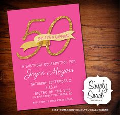 Surprise 50th Birthday Party Invitation by SimplySocialDesigns