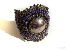 bead embroidered cuff bracelet free shipping worldwide by Beadamor on Etsy