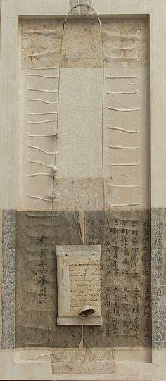 By Amalthee. Linen pendant necklace framed Pendentif en lin, manuscrit du 19eme siècle et coquillage de Mauritanie, pastilles en cristal de roche..
