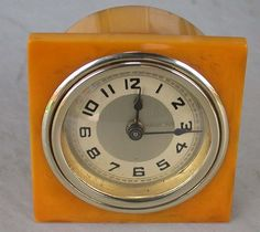 Art Deco Butterscotch Catalin Bakelite Wind Up Clock