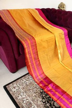 mango yellow banarasi silk saree from umedaa www.yarnstyles.com