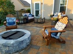 Patio and Fire Pit Fall Is Coming, Outdoor Spaces, Outdoor Decor, Outdoor Fireplaces, Backyard, Patio, Landscaping Company, Decor Styles, Projects