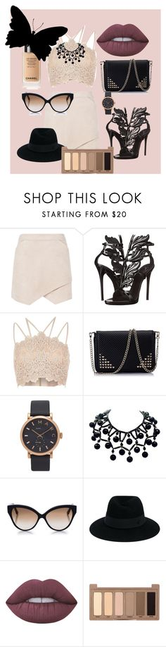 """Black butterfly"" by dzenita-219 on Polyvore featuring moda, BCBGMAXAZRIA, Giuseppe Zanotti, River Island, Marc Jacobs, Cutler and Gross, Maison Michel, Lime Crime i Urban Decay"