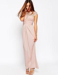 Image 4 ofASOS WEDDING Lace Top Pleated Maxi Dress