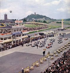 Start of the 1965 Grand Prix with the Nurburg (Castle) watching in the background