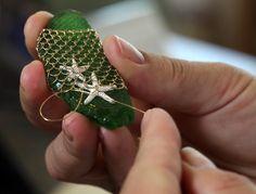Nicole Blanchard hand nets sea glass