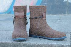 """Купить Валенки демисезонные """"Style """"mari_tyme"""" - коричневый, валенки для улицы, валенки на подошве, мужская обувь"""