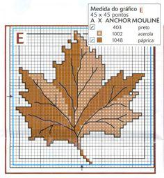 Esquemas de hojas de árboles en punto de cruz | Punto de cruz