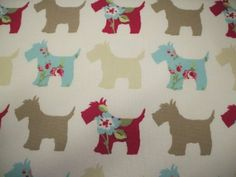 Scottie Dog in Taupe and Duckegg Cotton Curtain Fabric 140cm x 1 metre: Amazon.co.uk: Kitchen & Home