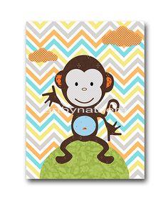 Monkey Nursery Baby Nursery Decor Baby Boy Nursery Kids wall art Kids Art Baby Room Decor Nursery Print 8 x10 monkey blue gray green orange on Etsy, $14.00