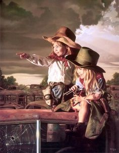 "Bob Byerley's print DEPUTIES shows two young girls acting as law enforcers-back in the days when marshals wore their guns in holsters and cowboy hats on their heads. Bob Byerley says--""Two cousins in"