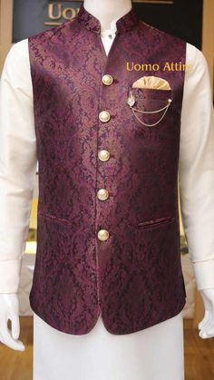 Get customized mens stylish waistcoat for your mehndi occasion, Exclusive designs of awami waistcoats in Jamawar & Tropical fabric available at Uomo Attire-Luxury Bespoke Menswear. Mens Indian Wear, Mens Ethnic Wear, Indian Groom Wear, Indian Men Fashion, Nehru Jacket For Men, Waistcoat Men, Nehru Jackets, Wedding Dress Men, Wedding Outfits