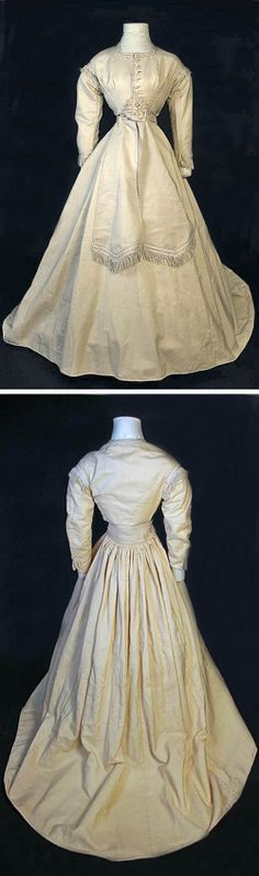 Three-piece wedding dress, 1868. Bodice, sash, and skirt. California Auctioneers/Invaluable