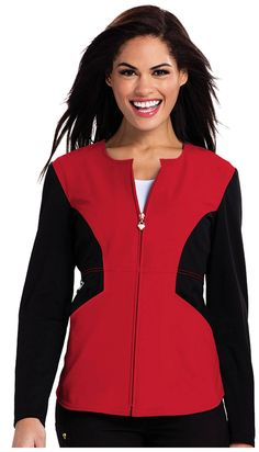 743f0190df3 Angelina Zip Front Contrast Jacket - Red/Black V Neck Tops, Cute Scrubs,