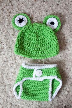 Crochet Korner Crochet Frog Hat and Diaper Cover by CrochetKorner, $20.00