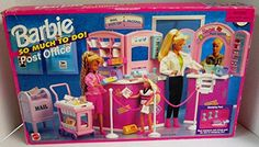 Barbie So Much To Do! Post Office is a 1995 Arcotoys Mattel production. Model For ages Years. CONTENTS: Mail Counter Mail Sorting & Packaging Counter Mail Cart with 2 Trays Mail Box We. Barbie 90s, Barbie Doll Set, Barbie Doll House, Barbie And Ken, Barbie Stuff, Office Set, Post Office, Office Stamps, Disney Characters Costumes