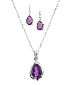 Loving this Amethyst & Sterling Silver Pendant Necklace & Earrings on #zulily! #zulilyfinds