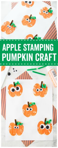 This Apple Stamping Pumpkin Craft is such a fun harvest time activity for the kids! The kids will love crafting with the googly eyes!