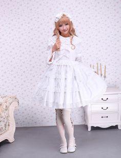 Cotton White Lace Bow Sweet Lolita Dress