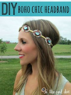 An easy DIY Boho Chic Headband. Such a fun trend that can be made or worn lots of different ways! theblueeyeddove.com